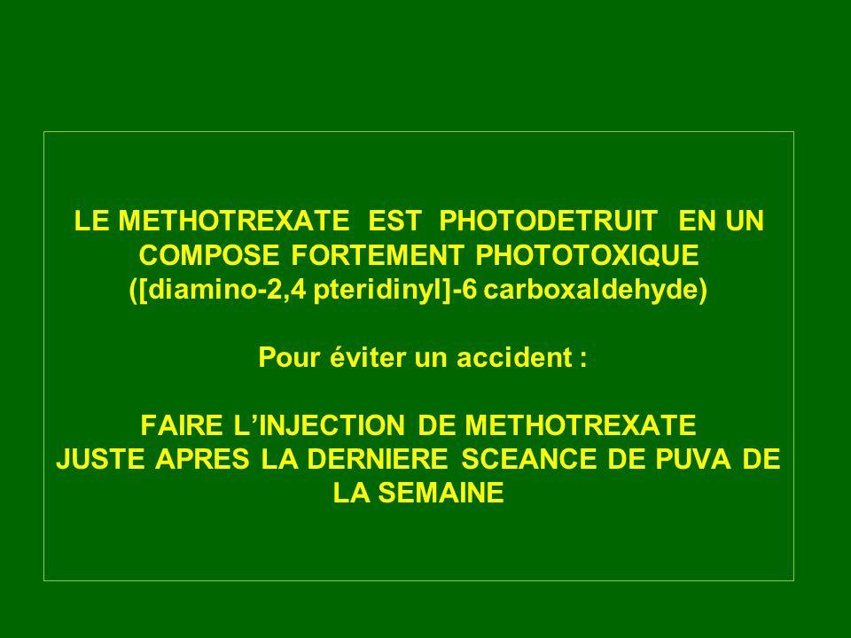LE METHOTREXATE EST PHOTODETRUIT EN UN COMPOSE FORTEMENT PHOTOTOXIQUE ([diamino-2,4 pteridinyl]-6 carboxaldehyde) Pour éviter un accident : FAIRE L'INJECTION DE METHOTREXATE JUSTE APRES LA DERNIERE SCEANCE DE PUVA DE LA SEMAINE